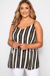 Black & White Stripe Chain Print Cami Top