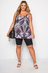 Purple & Blue Paisley Print Cami Top