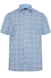 CARABOU Blue & Grey Floral Print Shirt