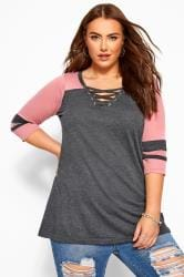Charcoal Grey & Pink Marl Lattice Varsity Top