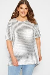 White & Charcoal Striped T-Shirt