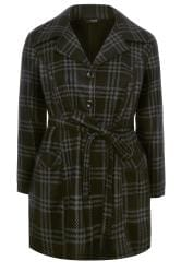 Black & Grey Check Revere Collar Fleece Coat
