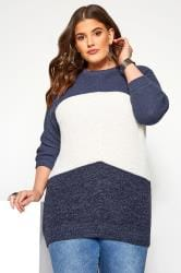 Denim Blue Colour Block Chevron Knitted Jumper