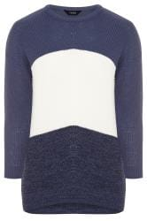 Denim Blue Colour Block Chevron Knitted Jumper