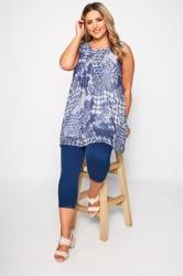 Blue & White Tile Print Chiffon Vest Top
