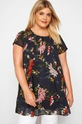 Navy Floral Capped Sleeve Chiffon Blouse
