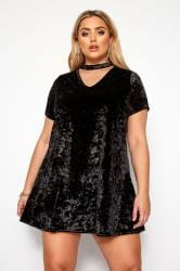 LIMITED COLLECTION Black Velour Choker Swing Dress
