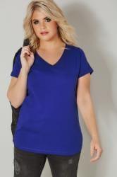 Camiseta algodón color azul cobalto