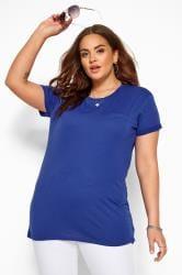 T-Shirt mit Ziertasche - Kobaltblau