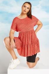 Coral Ditsy Floral Peplum Smock Tunic