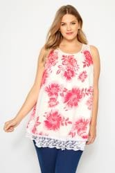 Coral Floral Lace Vest Top