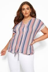 Coral Pink & Blue Stripe Tie Front Blouse