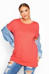 Coral Pink Dipped Hem Top