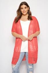 Coral Pointelle Knit Cardigan
