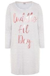 Grey & White Striped Slogan Nightdress