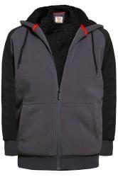 D555 Charcoal Grey Zip Through Hoodie