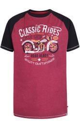 D555 T-Shirt mit Motorrad-Motiv - Weinrot