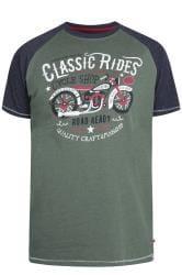 D555 T-Shirt mit Motorrad-Motiv - Khaki