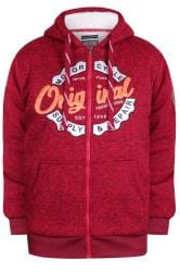 D555 Red Borg Zip Through Graphic Print Hoodie
