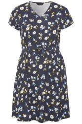 Navy Daisy Print T-Shirt Dress