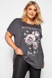 Charcoal Grey 'Romance' Rose Print Dipped Hem Top