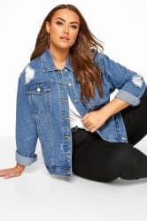 Blue Distressed Oversized Denim Jacket