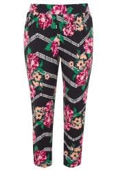 Black Floral Double Pleat Harem Trousers