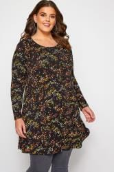 Black Ditsy Floral Drop Pocket Jersey Tunic