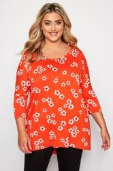 Orange Floral Print Dipped Hem Top
