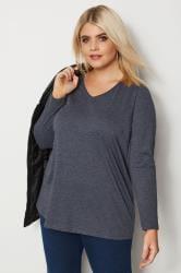 Dark Blue Long Sleeved V-Neck Jersey Top