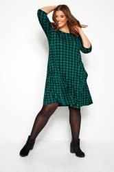Dark Green Check Drape Pocket Dress