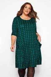 Dark Green Check Drape Pocket Dress