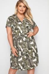 Dark Green Palm Print Utility Dress