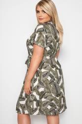 Dark Green Palm Print Utility Dress