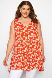 Dark Orange Floral Daisy Swing Vest Top