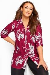 Dark Pink Floral Crinkle Shirt