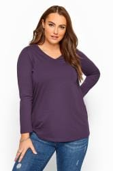 Dark Purple V-Neck Long Sleeve Top