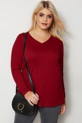 Dark Red Long Sleeved V-Neck Jersey Top