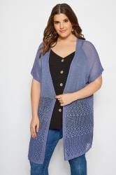 Denim Blue Crochet Effect Cardigan