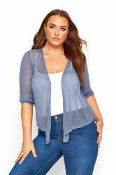 Denim Blue Waterfall Fine Knit Shrug