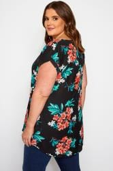 Black & Coral Floral Dipped Hem Top