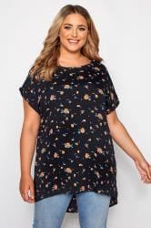 Navy Floral Print Dipped Hem Top