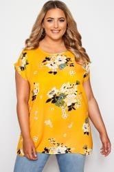 Yellow Floral Print Dipped Hem Top