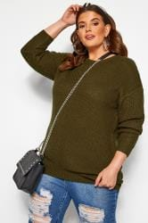 Khaki Green Chunky Knitted Jumper