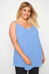 Light Blue Double Layered Button Cami