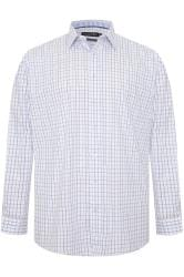 DOUBLE TWO White & Blue Check Non-Iron Long Sleeve Shirt
