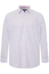 DOUBLE TWO White & Purple Check Non-Iron Long Sleeve Shirt
