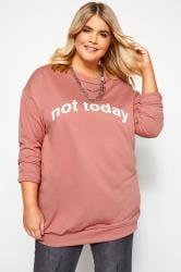"Sweatshirt mit ""Not Today"" Schriftzug - Altrosa"