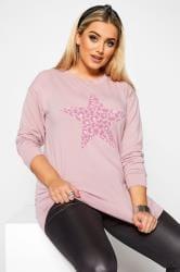 Sweatshirt mit Stern im Leoparden-Muster - Hellrosa