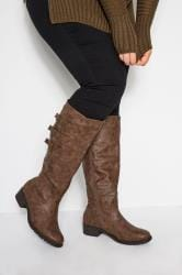 Brown Knee High Boots In Extra Wide Fit With Adjustable Straps
